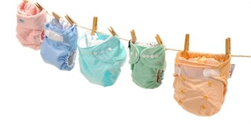 Nappies on a washing line