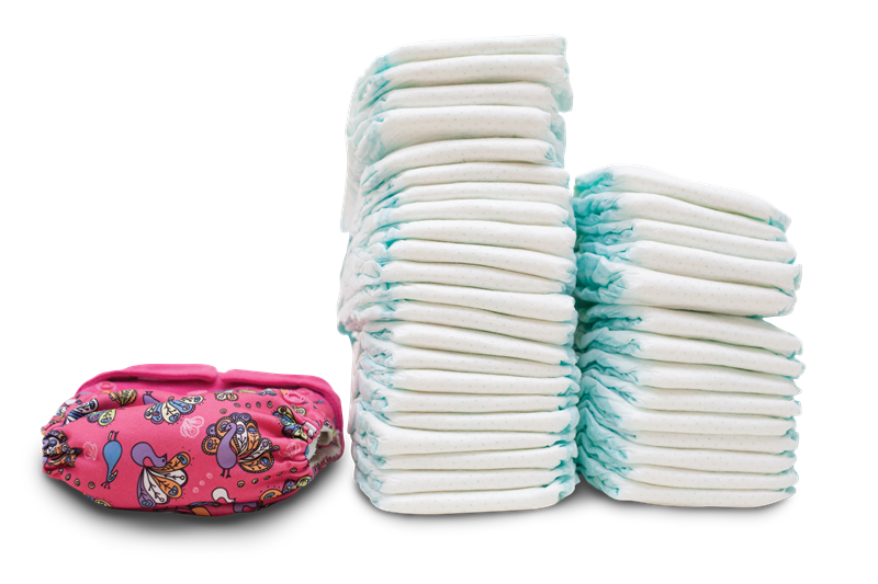 A cloth nappy and a pile of disposable nappies.