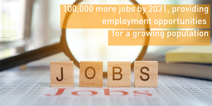 100,000 more jobs by 2031, providing employment opportunities for a growing population
