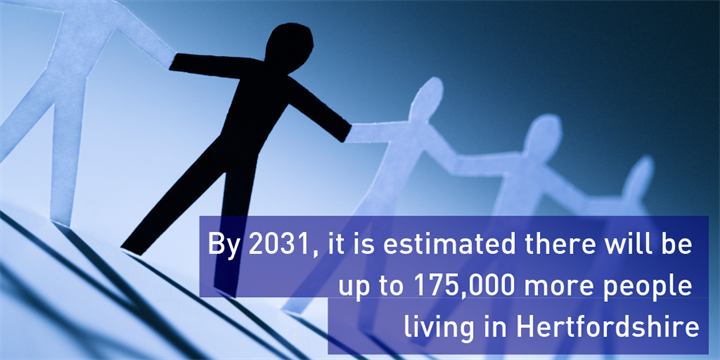 Good Growth population - by 2031, it is estimated there will be up to 175,000 more people living in Hertfordshire