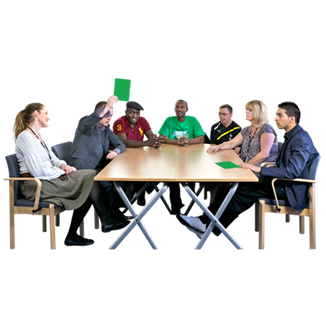 Group of people meeting round the table