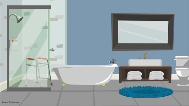 A bathroom with assistive technology such as a water leak detector
