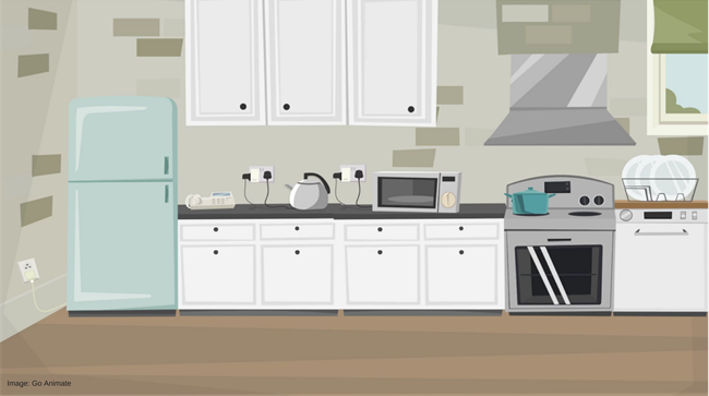 A kitchen with assistive technology such as a smart kettle