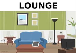 Picture if a lounge with a sofa, coffee table and lamp