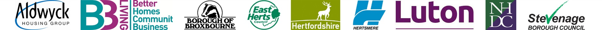 SAFS partners: Aldwyck Housing Group, B3 Living, Broxbourne Borough Council, East Herts Council, Hertfordshire County Council, Hertsmere Borough Council, Luton Borough Council, North Herts District Council and Stevenage Borough Council.