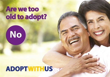 Male and Female smiling adoption postcard (448x313)