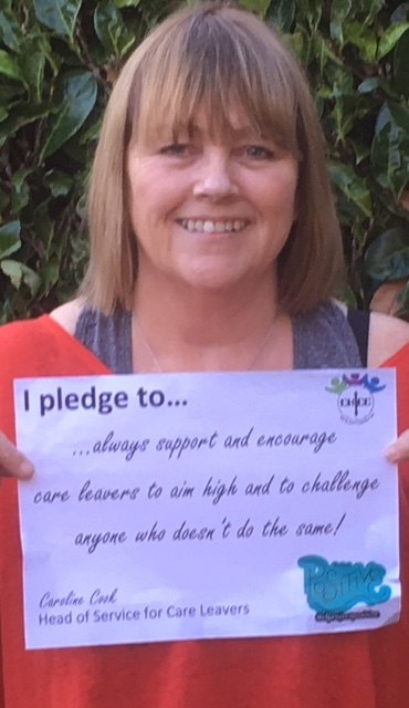 "Pledge from Caroline Cook, head of service for care leavers: ""I pledge to always support and encourage care leavers to aim high and to challenge anyone who doesn't do the same!"""