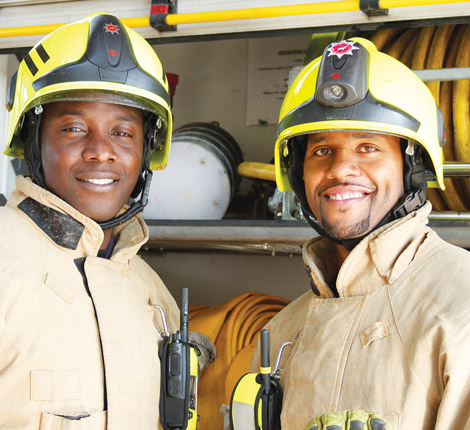 2 male fire fighters
