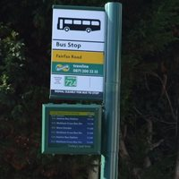 Bus stop with screen