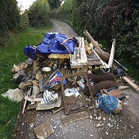 Fly tipping on road