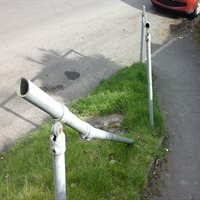 Pedestrian handrails damaged or missing