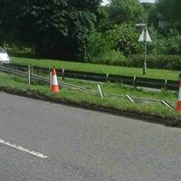Road Safety Barrier Damaged