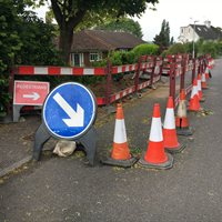 Utility works - digging up the road