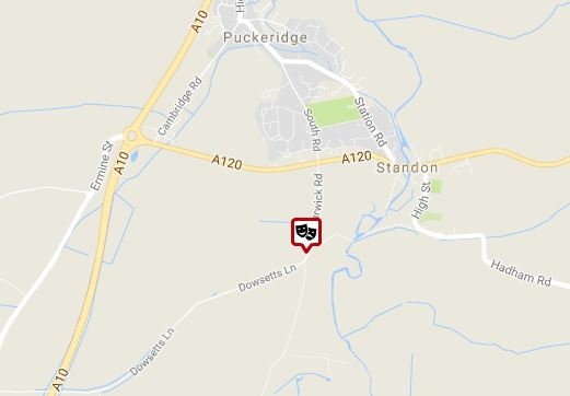 Map of A120 and A10 around Standon