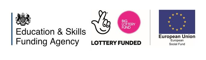 Education and skills funding agendcy logo, fingers crossed lottery logo and circle of gold stars European Union logo