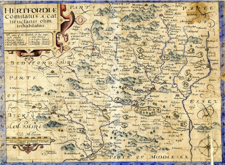 An old map of Hertfordshire.