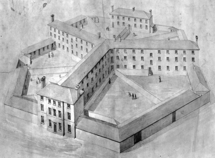 An old drawing of a workhouse.