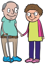 An older couple wearing slippers and holding hands.