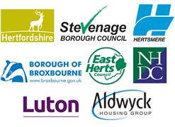 Hertfordshire County Council, Stevenage Borough Council, Hertsmere Council, Broxbourne Borough Council, East Herts Council, North Herts District Council, Luton Council and Aldwyck Housing Group