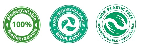 "Biodegradable logos - all say ""100% biodegradable"" or ""100% plastic free"""
