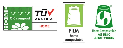"Home compostable logos - all say ""home compostable"" or ""Home OK compost""."
