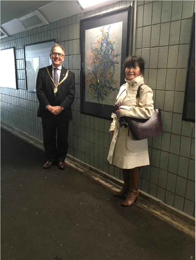 London Road Subway - Mitiko Murata and Cllr Deering