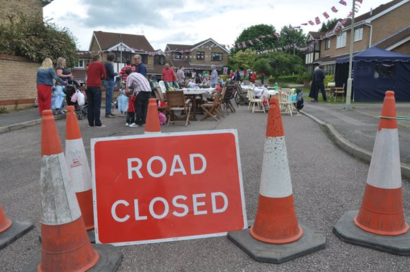 Road closures sign for street party