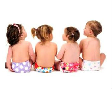 4 babies in real nappies facing away from the camera