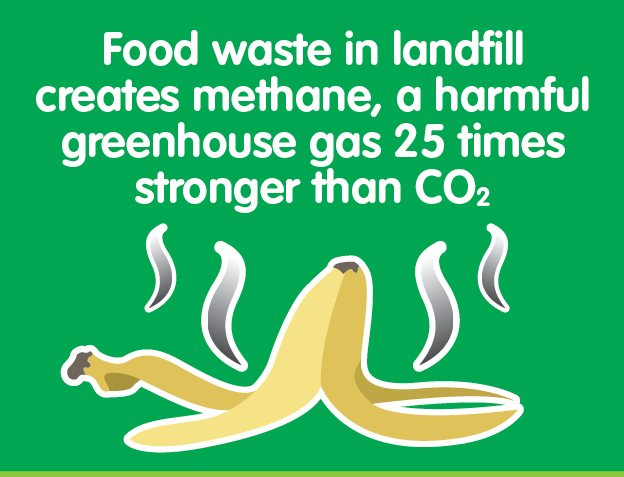 Food waste in landfill creates methane, a harmful greenhouse gas 25 times stronger than carbon dioxide.