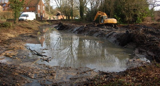 Pond reshaping Bovingdon Pond