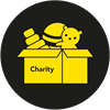 Image of a box of items to be donated to charity (yellow on a black background)