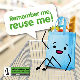 Reusable bag in shopping trolley