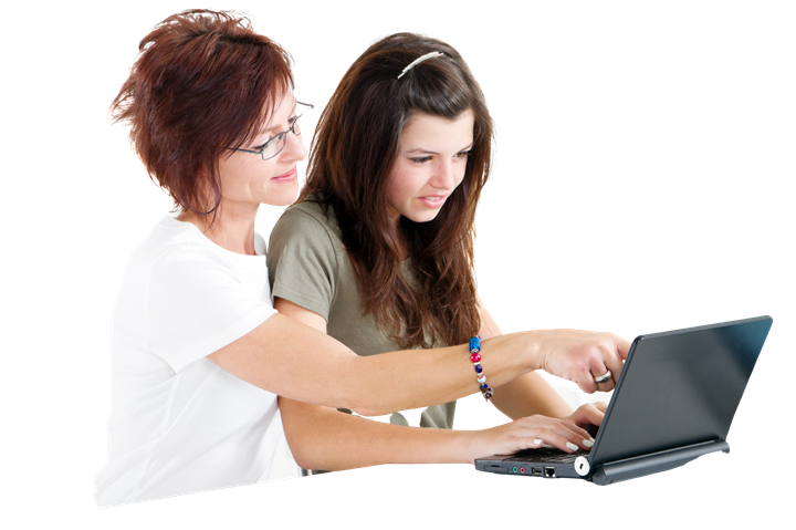Mum and daughter using laptop