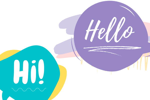 An image of some speech bubbles that say hello and hi