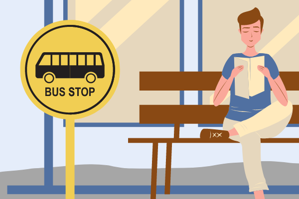 An illustration of a man reading a book at a bus stop.