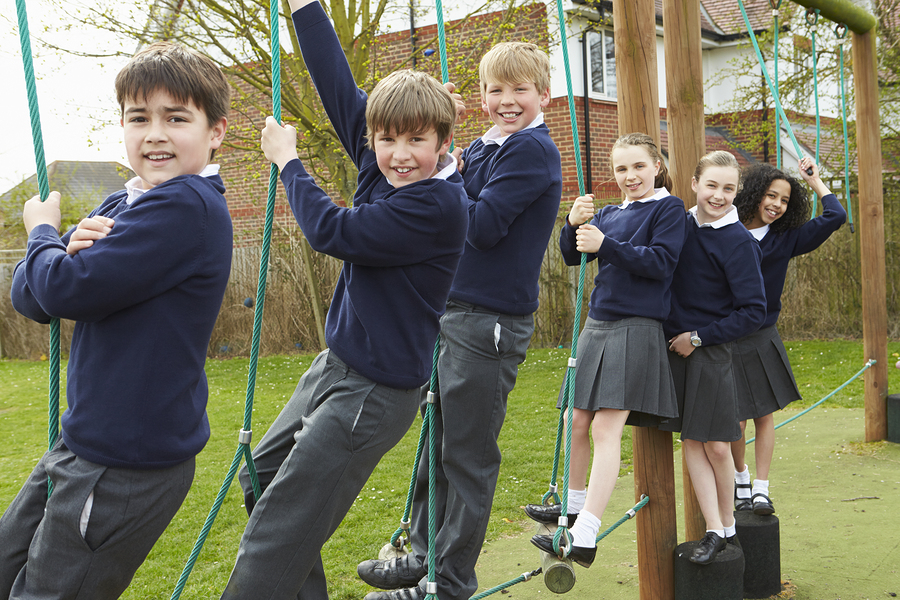 School children climbing ropes