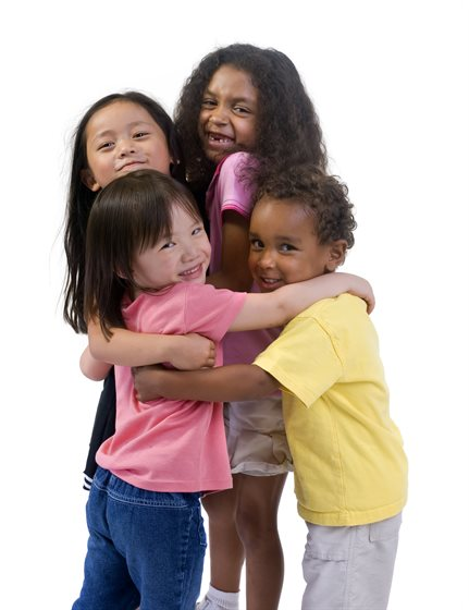 Four-children-hugging