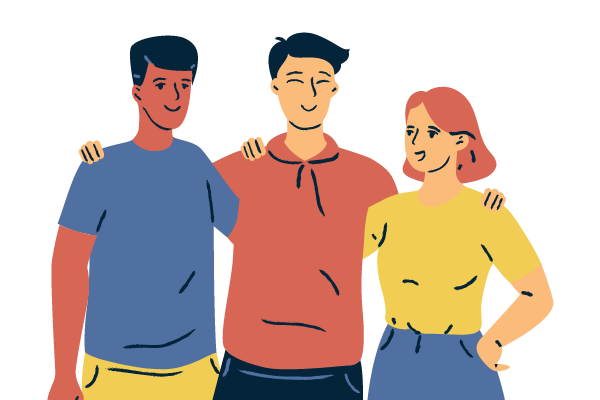 An illustration of three friends putting their hands on one another's shoulders